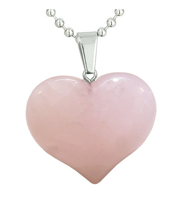 Amulet Large Puffy Heart Rose Quartz Gemstone Healing Powers Pendant 18 Inch Necklace - CG11CWQEACP