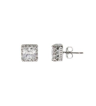 Crown Set Princess Cut CZ Studs - CE111H8Q28Z