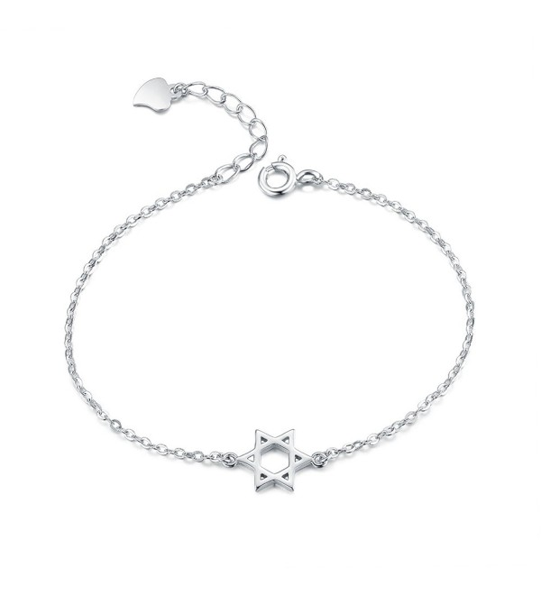 Jewish Star of David Bracelet- LicLiz 925 Sterling Silver Magen David Dainty Hebrew Religion - C71889NG74X