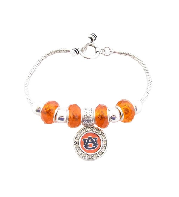 Auburn Tigers Orange Slider Glass Bead Silver Toggle Bracelet Jewelry AU - CI11K3BU2DD