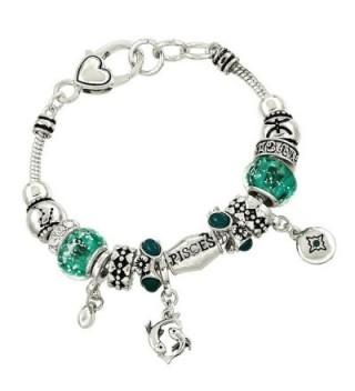 DianaL Boutique Zodiac Sign Pisces Horoscope Charm Bracelet Silver Tone Gift Boxed - CN11STV66HF