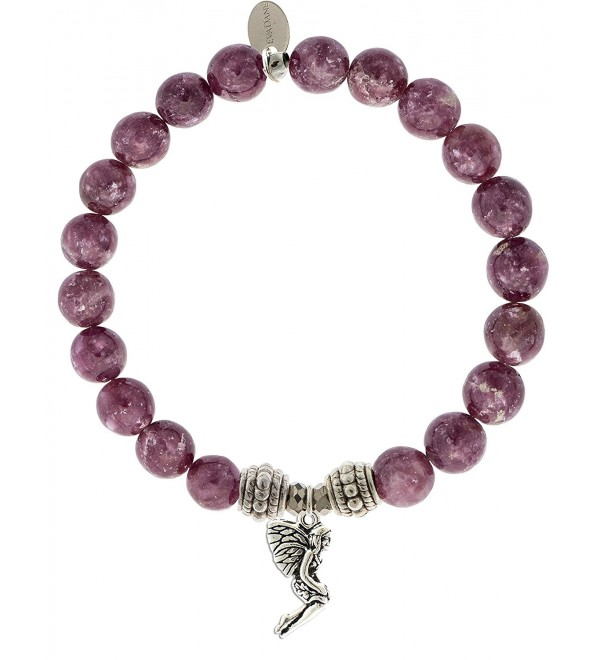 EvaDane Natural Lepidolite Gemstone Rope Bead Fairy Charm Stretch Bracelet - CF12KAWSTUL