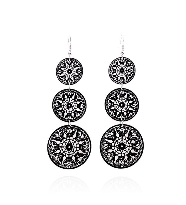 Lureme Hollow Out Design Jewelry Three Disks Shape Pendant Dangle Earrings for Girls and Women (02003111) - Black - C811SVTQS1J