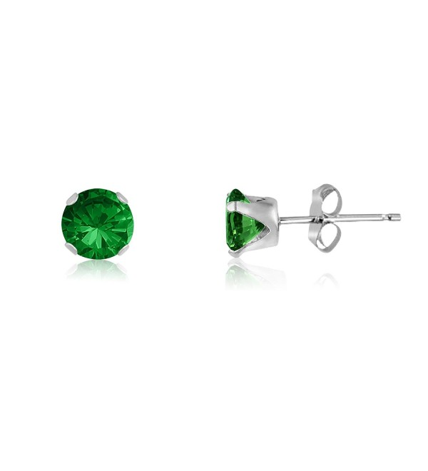 Round 3mm Simulated Emerald CZ Stud Earrings (0.36 cttw) Sterling Silver- 14k Yellow or Rose Goldplate - CV11IWLBRP3
