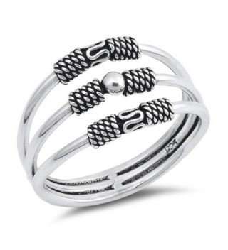 Bali Three Bar Bead Statement Ring New .925 Sterling Silver Band Sizes 5-10 - CU12O4DBAVC