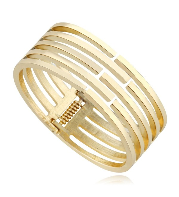 KAYMEN Classic Gold-Plated Women Statement Bangle Cuff Bracelets - CN124S8ARCL