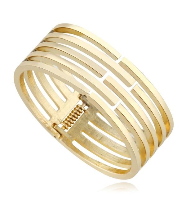 92146a78f0f4 KAYMEN Classic Gold-Plated Women Statement Bangle Cuff Bracelets -  CN124S8ARCL