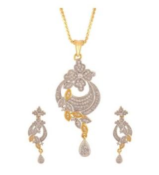 Swasti Jewels Zircon Flower shaped CZ Zircon Fashion Jewelry Set Pendant Earrings for Women - CA12FG7CFD3