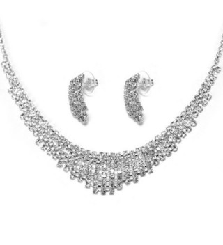 Rhinestone Silver Multi Tier Design Bridal Necklace Earring Set - CZ116GE1WNP