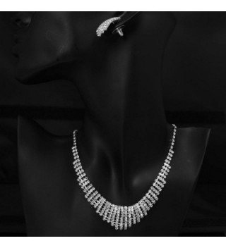Rhinestone Silver Bridal Necklace Earring in Women's Jewelry Sets