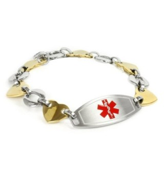 MyIDDr Medical Alert Bracelet for Women with Engraving- Gold Tone 316L Steel 1.5cm- Medium - CA125G5WBCZ