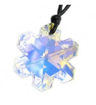 "Leather Choker Necklace with Swarovski Elements Crystal Clear AB Snowflake Pendant- 14"" - 24"" - CO116A4AXUR"