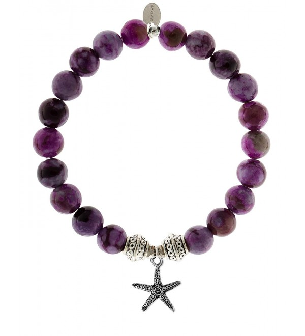 EvaDane Natural Sugilite Gemstone Tibetan Bead Starfish Charm Stretch Bracelet - CN12DR1AM9X