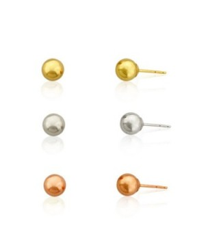 3-pairs 10k Gold Three Color 4m Ball Stud Earring Set- Yellow-white and Pink/rose - CQ1200861F1