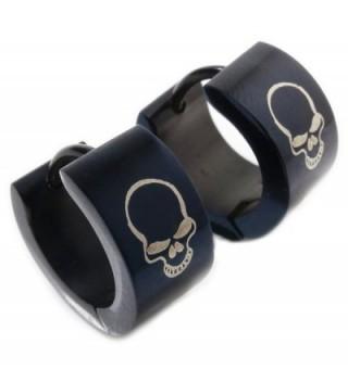 Pair Stainless Steel Black Plated Skull Hoop Earrings 7mm - C011EEI2MM5