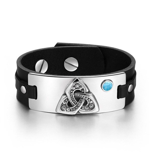 Celtic Triquetra Knot Magic Powers Amulet Tag Simulated Turquoise Adjustable Black Leather Bracelet - C4129CIQP97