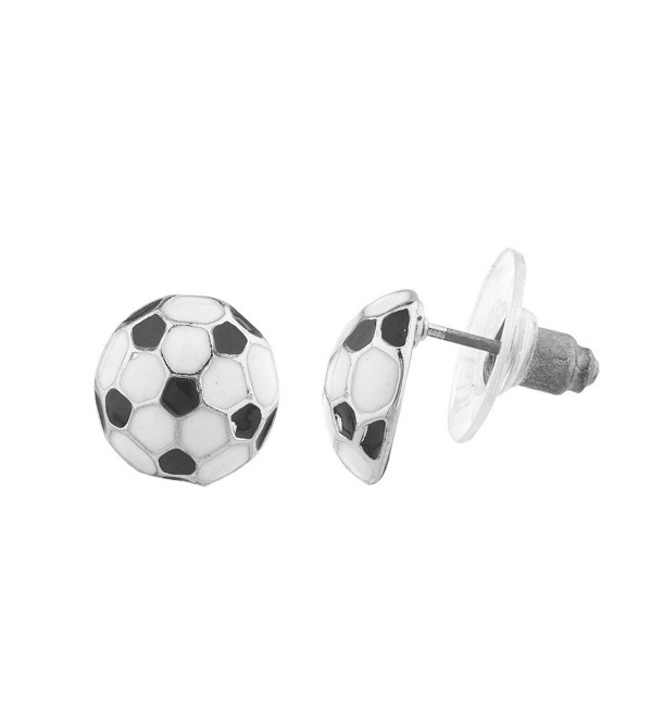 Lux Accessories Silvertone Black White Soccer Ball Sports Post Earrings - CN12N0H3DEA