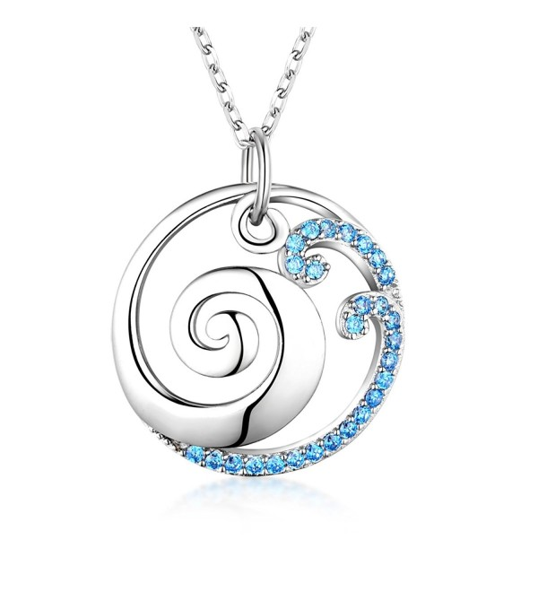 925 Sterling Silver Ocean Wave Pendant Necklace - CO186QWG2SS