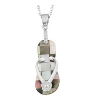 Sterling Silver Mother Of Pearl Flip Flop With Flower Design Necklace (18 inch) - Black - C911QLMCK1F
