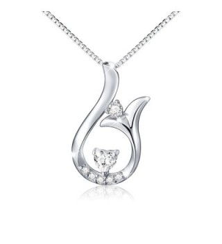 "925 Sterling Silver Mermaid Princess Tail Love Heart Necklace for Women- Box Chain 18"" - C1182GR2I76"