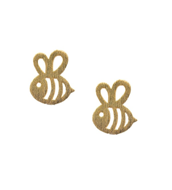Spinningdaisy Handcrafted Brushed Metal Bumble Bee Stud Earrings - CZ11XR73T2V