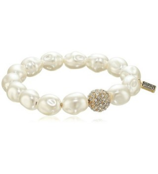 Laundry by Shelli Segal Pearl Pave Stretch Bracelet - White - C412OCZQLUS