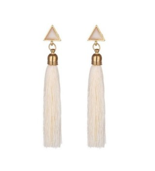 JUST N1 Women's Girls Elegant Jewellery Handmade Bohemia Ethnic Tassels Dangle Stud Earrings Eardrop Red - White - CM18C0O0N4X