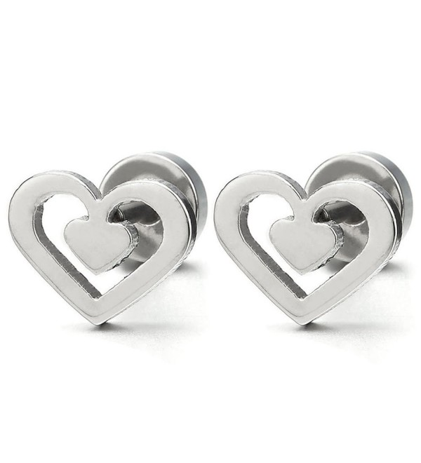 1 Pair Stainless Steel Double Heart Stud Earrings for Women Girls- Screw Back - CZ183XS3A5L