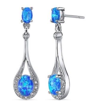 Created Blue-Green Opal Earrings Sterling Silver Oval Shape 3.50 Carats - C311NK4YEJN