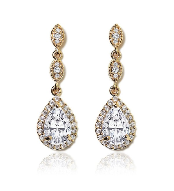 Elegant Teardrop Cubic Zirconia Crystal Earrings in Silver- Gold- Rose Gold - Gold - CI186XZNHHA