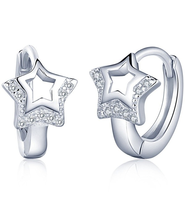 Infinite U Huggie Earrings 925 Sterling Silver Cubic Zirconia Small Hoop Star/Heart Cartilage for Women - CZ12KD1QB1T