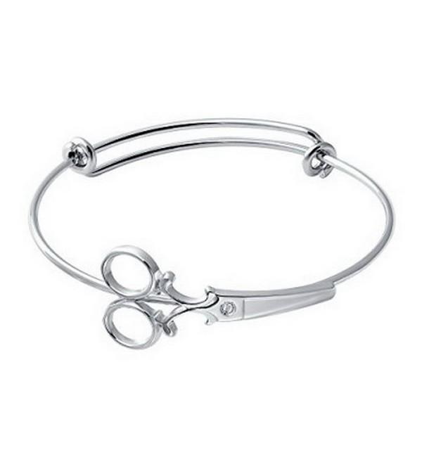 Fashion Expandable Hairdresser Scissor Bracelets Silver - silver plated - CJ12F008JIV