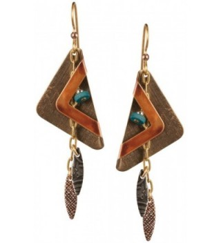 Bronze-tone Triangle on Triangle & Hammered Textured Petals on Gold-tone on Surgical Steel Ear Wire - C811EXB4G6X