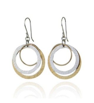 Two Tone Multi Hoop Dangle Earrings 925 Sterling Silver and 14k Gold Filled Circles Earring - C512O488NAR