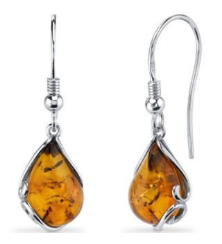 Baltic Amber Tear Drop Earrings Sterling Silver Cognac Color Fish Hook - CH11Y5N2387