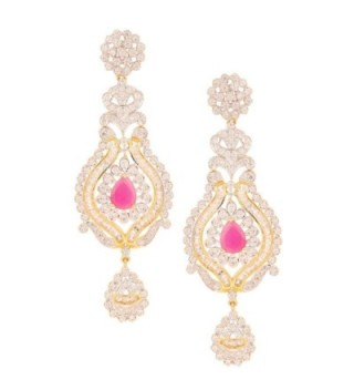 Swasti Jewels Women's American Diamond CZ Zircon Fashion Jewellery Colourful Ethnic Earrings - Pink - CB12BT67FYJ