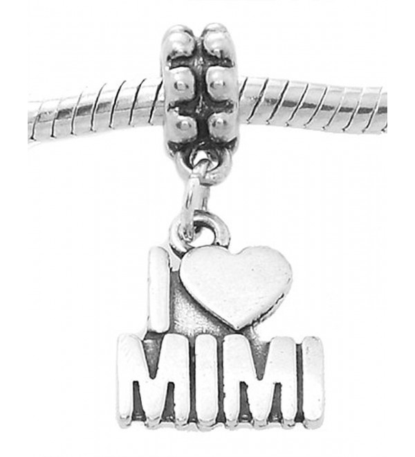 Sterling Silver Oxidized I Love Mimi Grandmother Dangle Bead Charm - CG11CNSVVF7