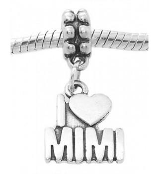Sterling Silver Oxidized I Love Mimi Grandmother Dangle Bead Charm - CG11CNSVVF7
