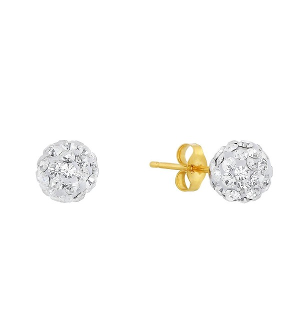 14k Yellow Gold Round Crystal Ball Stud Earrings with 14k Gold Pushbacks - Choice of Size - CG12D4H9OKJ