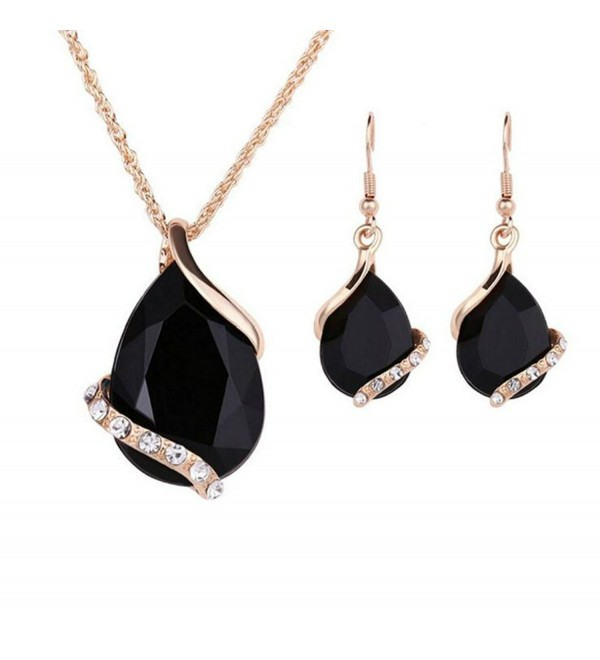 Ezing Women Crystal Pendant Gold Plated Chain Necklace Earring Jewelry Set - CF12NS30FNY