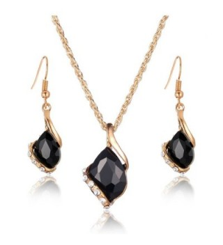 Ezing Crystal Pendant Necklace Earring in Women's Jewelry Sets
