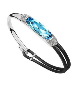 Jisela Women Fashion Jewelry Swarovski Crystal Elements and Leather Bracelet - Sky Blue - CQ12O5HOJGM