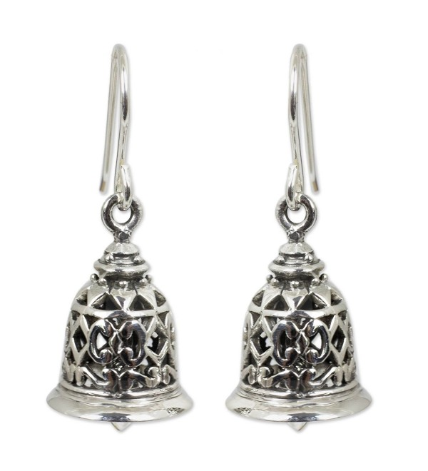 NOVICA .925 Sterling Silver Bell-Shaped Dangle Hook Earrings 'Temple Bell' - CV11369X2ZT
