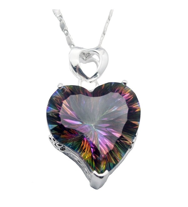 "Sterling Silver Heart Shape Women Pendant Fire Mystic Topaz Chain Necklace 18"" - Fire Red - CK17YQDL4M2"