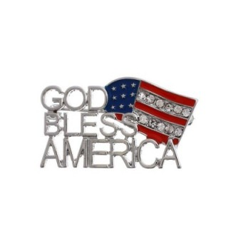Patriotic Flag God Bless America Brooch Pin with Clear Rhinestone Accents - C012H3EABI7