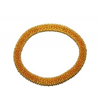 Crochet Glass Seed Bead Bracelet Roll on Bracelet Nepal Bracelet - C11207AFFSZ