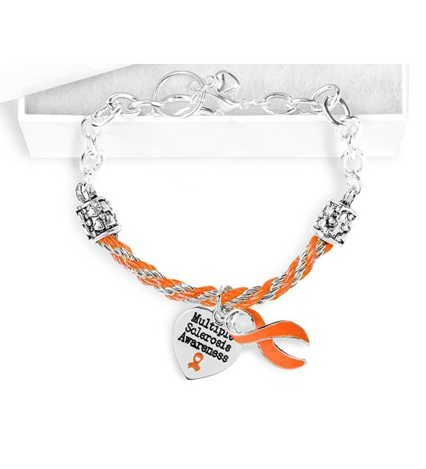 Multiple Sclerosis Awareness Orange Ribbon Partial Rope Charm Bracelet - C117YZWNQQ3