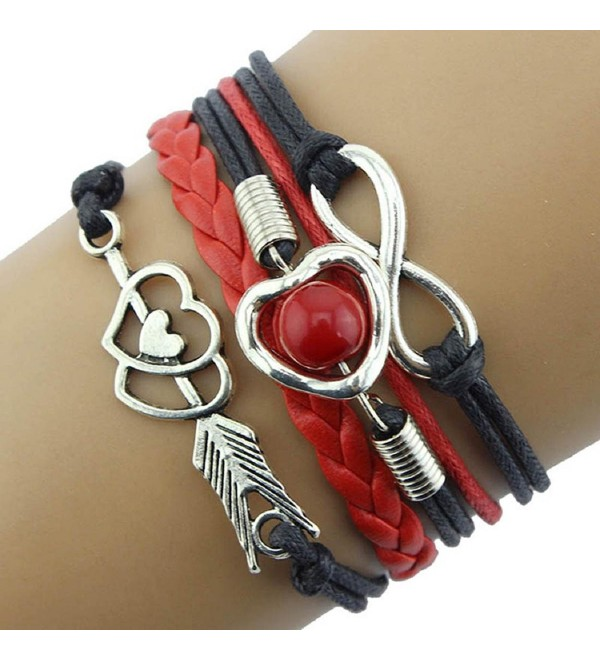 Kingfansion Infinity Love Heart Pearl Friendship Antique Leather Charm Bracelet - CX12BVVKYDV