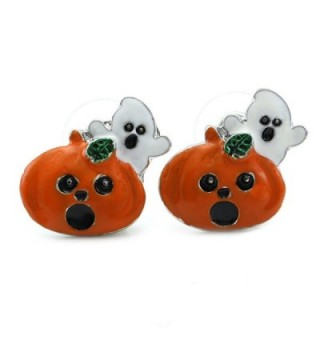 Cute Happy Halloween Fall Jack O Lantern Pumpkin Post Stud Pierced Earrings Costume Fashion Jewelry - C1126BO1RR5