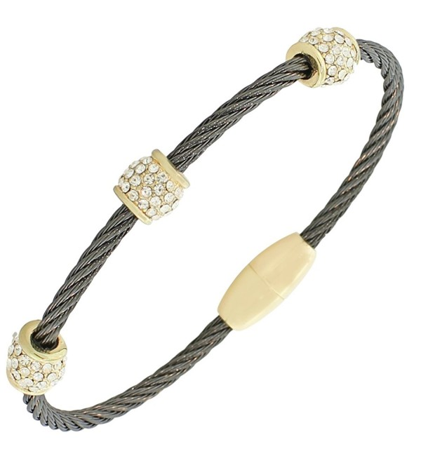 Fashion Alloy Black Yellow Gold-Tone White CZ Twisted Cable Bangle Bracelet - C311OBCIIEZ